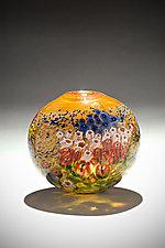 Landscape Series Vase Tangerine round by Shawn Messenger (Art Glass Vase)