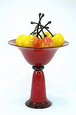 Red Pedestal Bowl with Rainier Cherries by Donald  Carlson (Art Glass Sculpture)
