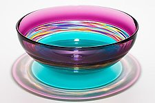 Transparent Banded Vortex Bowl in Violet Jewel Sea Green by Michael Trimpol and Monique LaJeunesse (Art Glass Bowl)