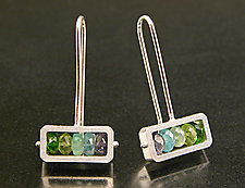 Horizontal Rectangle Earrings in Blue-Green by Ashka Dymel (Silver & Stone Earrings)