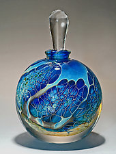 Round Silver Veil Teal Perfume Bottle by Robert Burch (Art Glass Perfume Bottle)