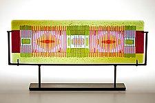 Olive/Lavender Line Work by Lynn Latimer (Art Glass Sculpture)