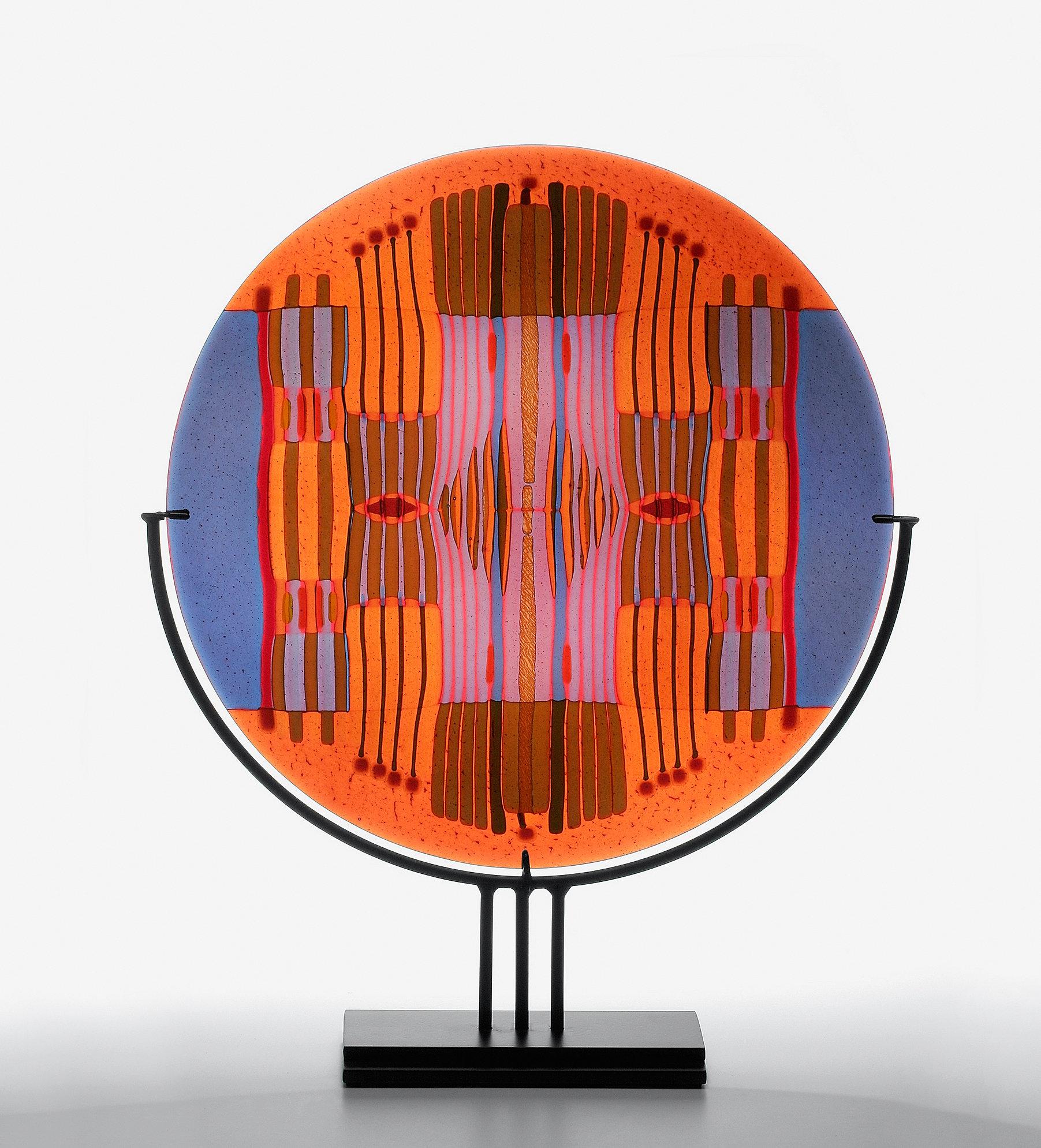 Line Work Art : Orange lavender line work round by lynn latimer art glass