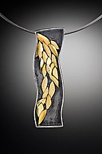 Falling Golden Leaf Necklace: 1 by Lori Gottlieb (Gold & Silver Pendant)