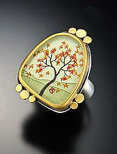 Large Autumn Maple Ring by Ananda Khalsa (Gold & Silver Ring)