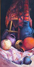 Pottery in Sunlight by Ritch Gaiti (Oil Painting)