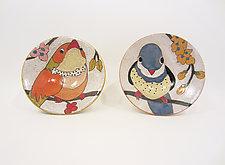 'Flowers, Birds, & Berries' Condiment Bowl by Dwo Wen Chen (Ceramic Bowl)