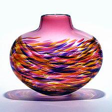 Low Flat Vortex Vase: Cranberry by Michael Trimpol and Monique LaJeunesse (Art Glass Vase)