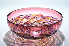 Optic Ribbed Vortex Bowl: Cranberry by Michael Trimpol and Monique LaJeunesse (Art Glass Bowl)