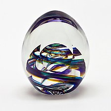 Medium Helix Weight and Facet in Tiffany by Michael Trimpol and Monique LaJeunesse (Art Glass Paperweight)