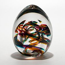 Medium Helix Weight and Facet in Candy by Michael Trimpol and Monique LaJeunesse (Art Glass Paperweight)