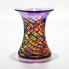 Optic Rib Cooling Tower Vase in Candy by Michael Trimpol and Monique LaJeunesse (Art Glass Vase)