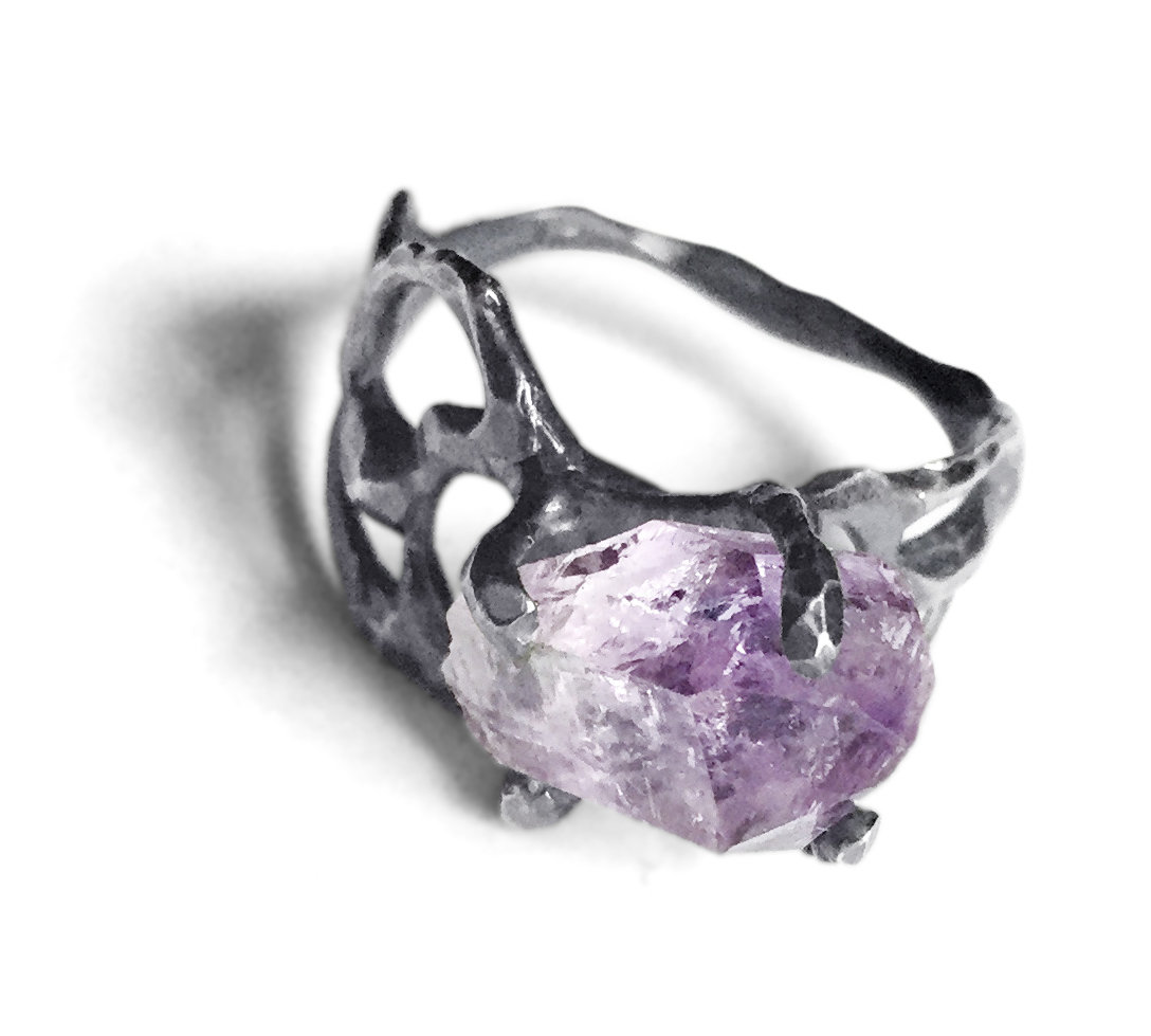 Wide Band Mineral Ring By Aimee Petkus (Silver & Stone