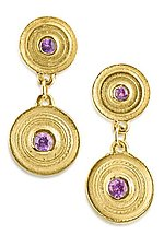 Sapphire Facades Double Medallion Earrings by Alyssa Reiner (Gold & Stone Earrings)