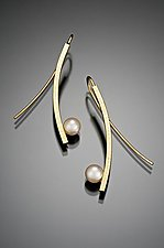 Curved Stick with Pearl by Tom McGurrin (Gold & Pearl Earrings)