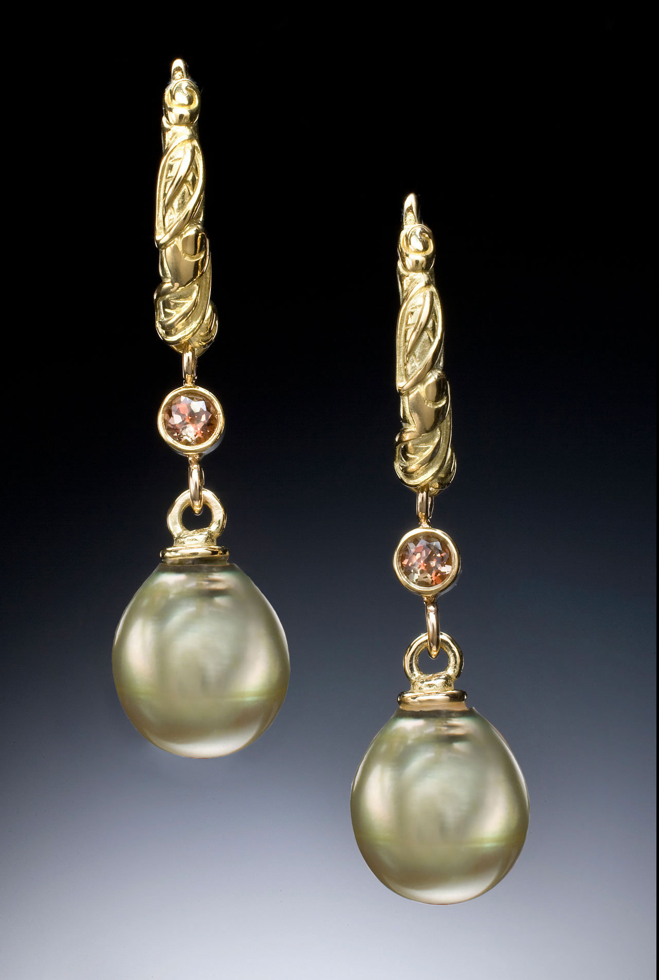 Green Pearl And Andaluzite Hoop Earrings By Conni Mainne