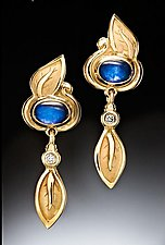 Blue Moonstone and Diamond Earrings by Conni Mainne (Gold, Stone and Diamond Earrings)