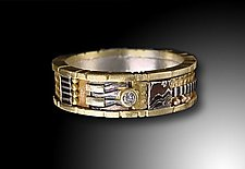 Yellow Gold Mosaic Ring by Lynda Bahr (Gold Ring)