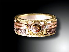 Mosaic Yellow Gold Ring with Andalusite by Lynda Bahr (Gold and Stone Ring)