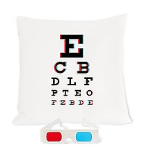 3D Eye Chart Pillow by Heather Lins (Fiber Pillow)