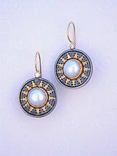 Earrings SER 379 by Sally Craig (Gold, Silver, Pearl Earrings)
