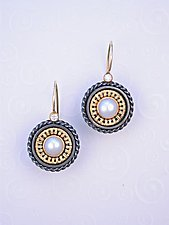 Earring SER 410 by Sally Craig (Silver, Gold and Pearl Earrings)