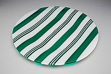 Peppermint Candy - Green (Large) by James Nevitt (Art Glass Plate)