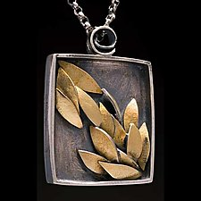 Small Golden Leaf Necklace by Lori Gottlieb (Gold & Silver Necklace)