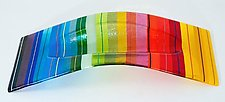 Rainbow Bent Oval Vessel by Renato Foti (Glass Vase Vessel)