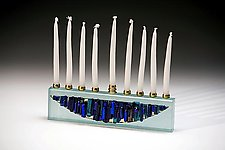 Cobalt Turquoise Menorah by Alicia Kelemen (Glass Menorah)