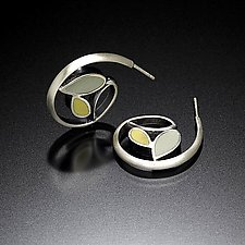 Leaf Hoops by Susan Kinzig (Silver Earrings)