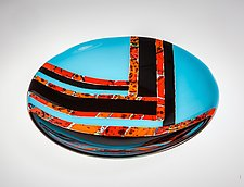 Black and Orange Striped Bowl by Varda Avnisan (Art Glass Bowl)