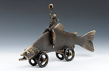 Trout Cowboy by Scott Nelles (Metal Sculpture)