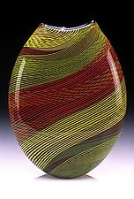 Color Weave Oval Vase by Brian Becher (Art Glass Vase)