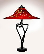 Oriental Red Round Edge Spiral Lamp by Joel and Candace  Bless (Art Glass Table Lamp)