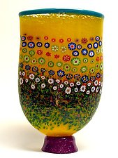 Yellow Garden Vase by Ken Hanson and Ingrid Hanson (Art Glass Vase)