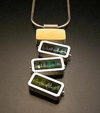 Dancing Rectangles Necklace - Blue and Green by Ashka Dymel (Silver, Gold & Stone Necklace)
