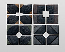 Small Series  X + O + Square + Diamond by Nell Devitt (Ceramic Wall Sculpture)