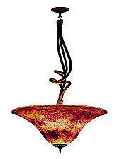 Pendant Volcano Red Round with Sculptural Metal Hanger by Joel and Candace  Bless (Art Glass Pendant Lamp)
