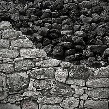Rock Wall, Mayan Ruins at Coba, Mexico by Steven Keller (Black & White Photograph)