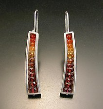 Slender Wedge Earring in Red and Orange by Ashka Dymel (Silver & Stone Earrings)