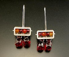 Rectangle Earrings with Garnet Drops by Ashka Dymel (Silver & Stone Earrings)