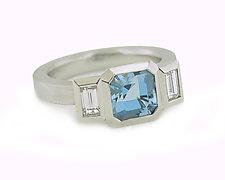 Oblique Three-Stone Ring in Platinum, Aquamarine and Diamonds by Catherine Iskiw (Platinum & Stone Ring)