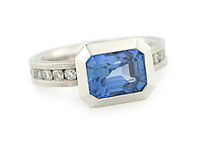 Oblique Ring in 950 Pt. with Blue Sapphire and Diamonds by Catherine Iskiw (Platinum & Stone Ring)