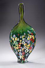 Tall Neck Landscape Series Vase Green by Shawn Messenger (Art Glass Vessel)