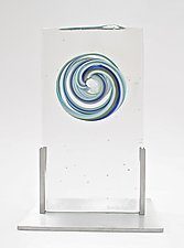 Blue, Green, and White Cast Inclusion in Aluminum Frame by Dierk Van Keppel (Art Glass Sculpture)
