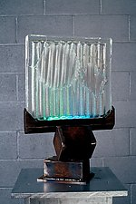 Cast Clear Inclusions with Neon on Iron Base by Dierk Van Keppel (Art Glass Sculpture)