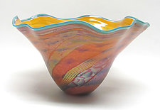 Large Fluted Dichroic Bowl in Topaz and Salmon by Ken Hanson and Ingrid Hanson (Art Glass Bowl)