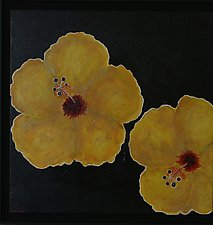 Yellow Hibiscus Out Exploring by Pamela Acheson Myers (Acrylic Painting)