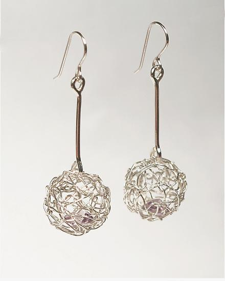Woven Mini Drop Ball Earrings